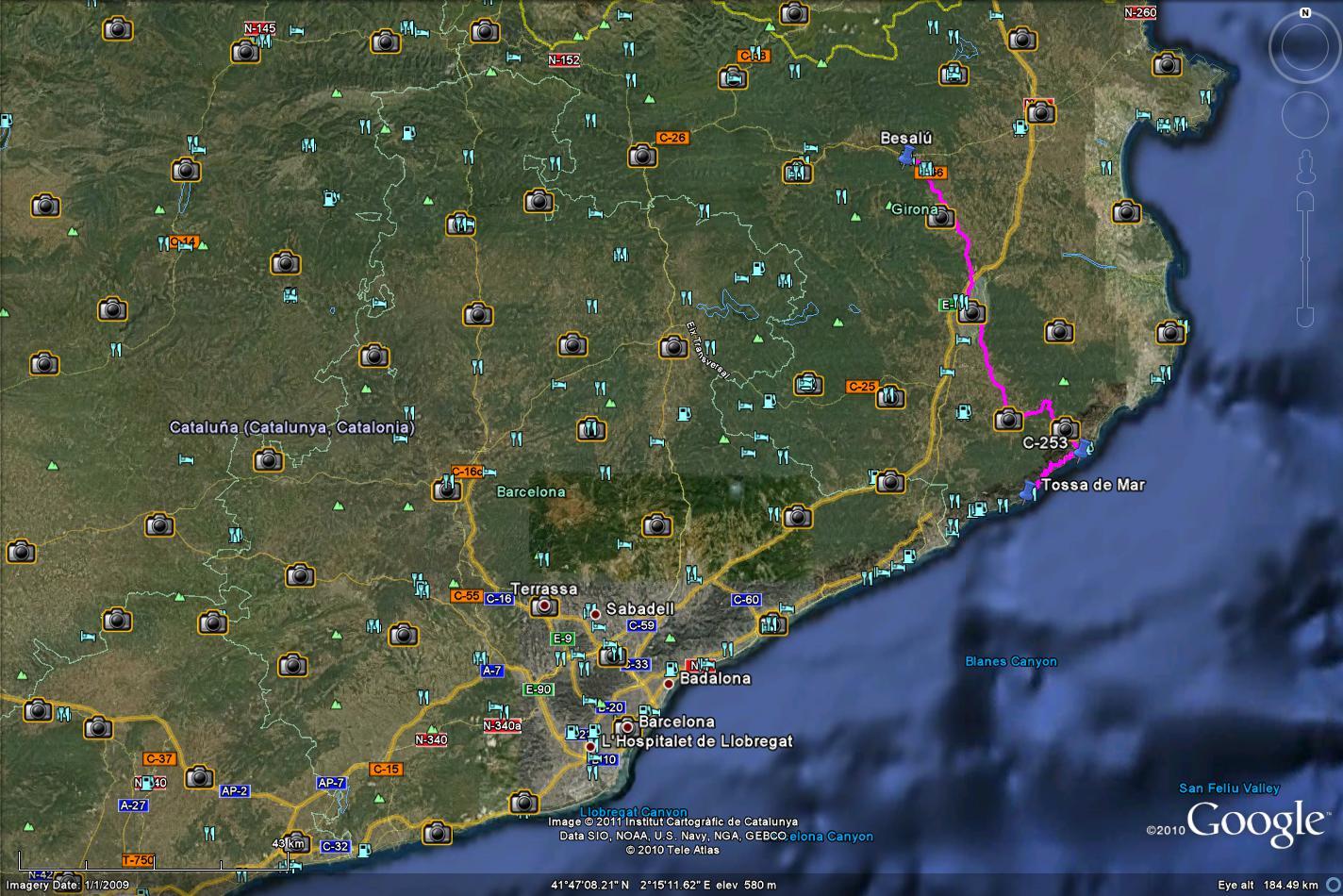 Tossa to Besalu GE map