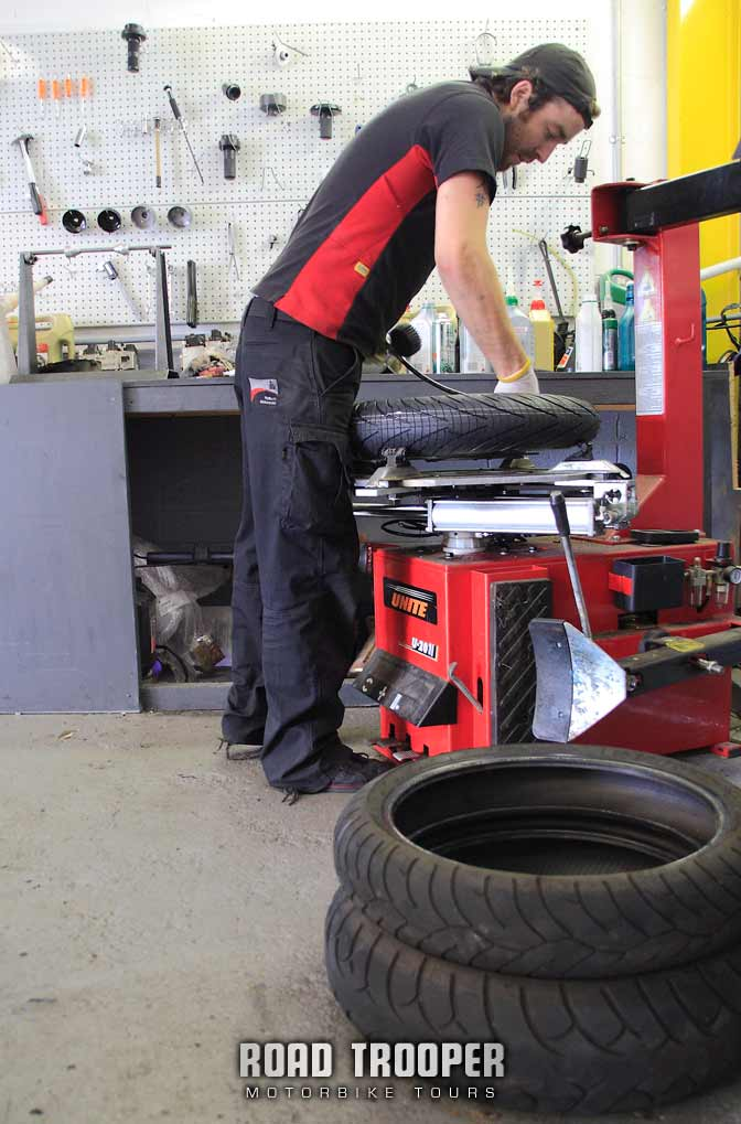 Mark at Platinum taking off the old tyres and slipping on the new PR3's