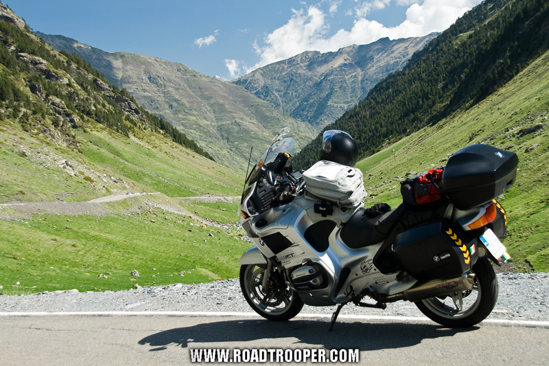 My beloved BMW R1150RT in the Pyrenees last June